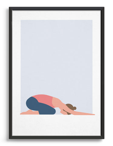 framed Illustration of a woman in childs pose yoga position against a blue background