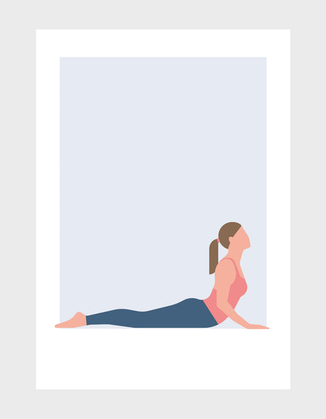 Yoga art print of a woman in cobra pose against a pale grey background