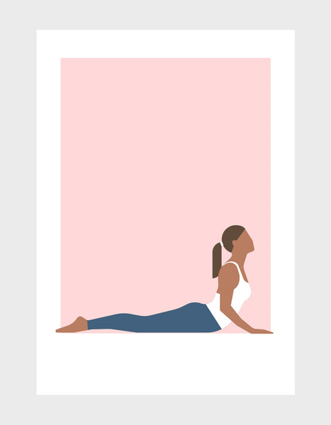yoga pose art print of a woman in cobra pose against a pink background