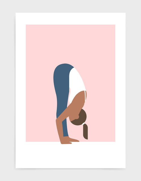 Illustration of a woman in forward fold yoga pose against a pink background