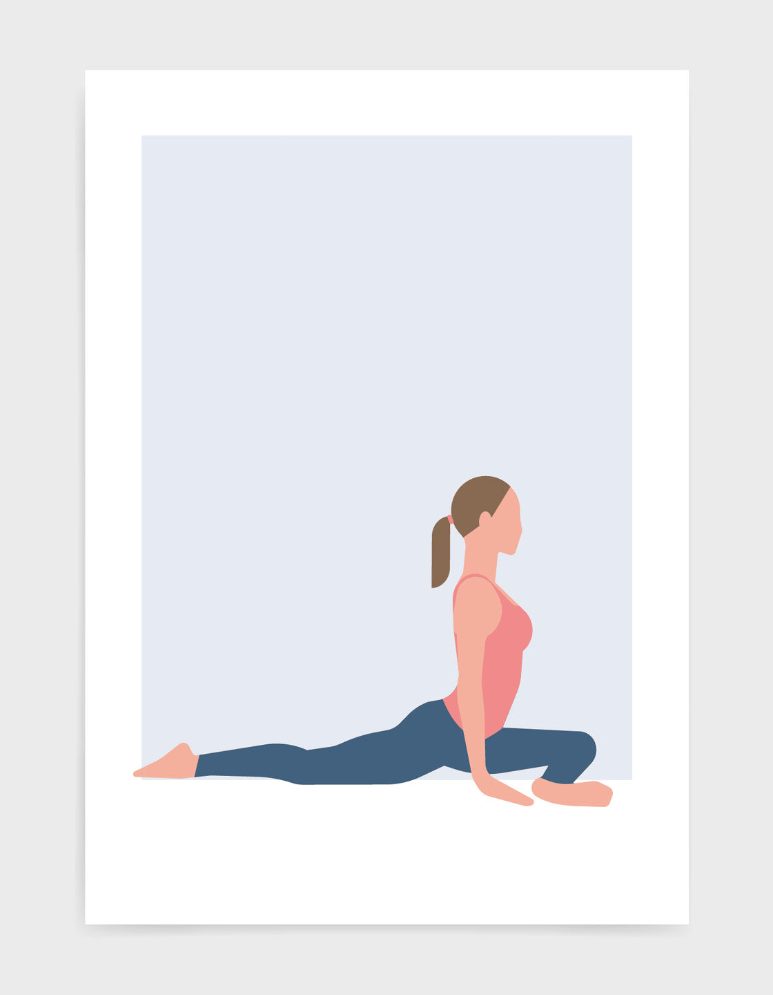 Illustration of a woman in pigeon pose yoga position against a blue background
