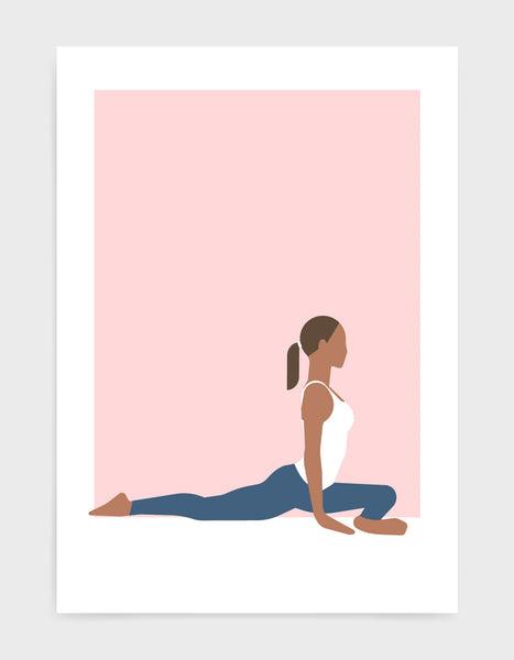 Illustration of a woman in pigeon pose yoga position against a pink background