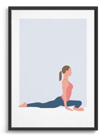 framed Illustration of a woman in pigeon pose yoga position against a blue background