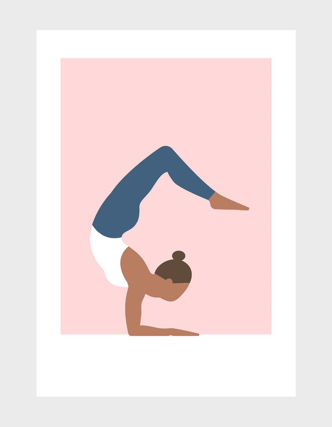 Scorpion pose yoga art print on pink background
