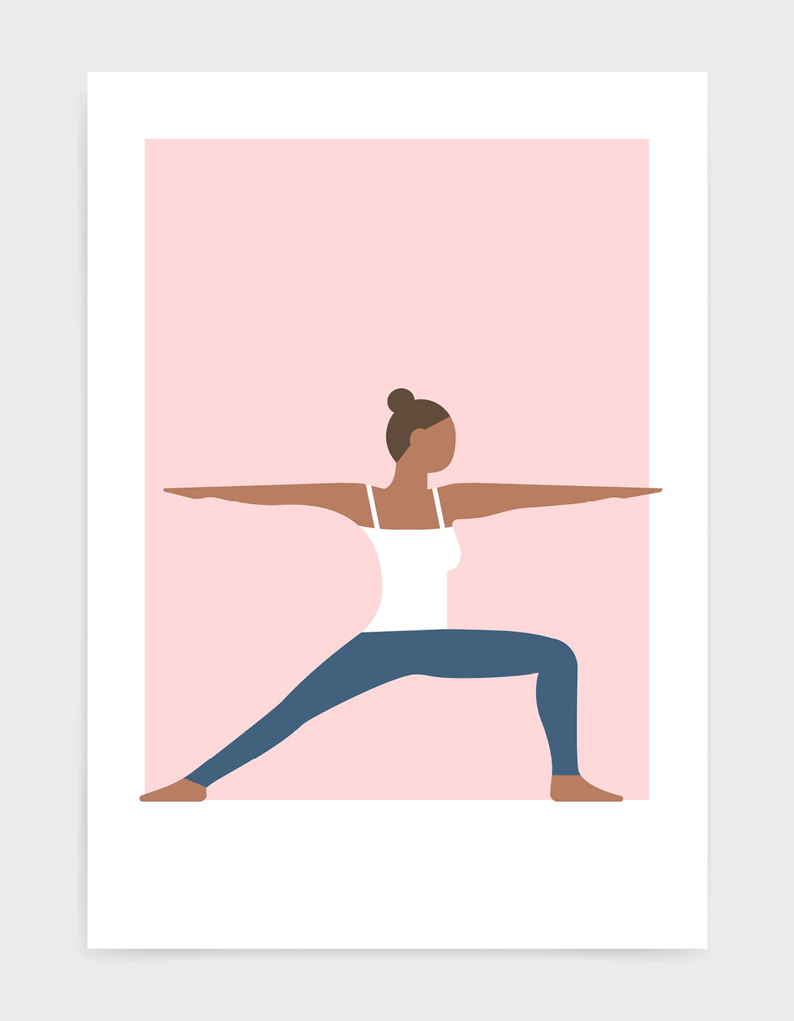art print of a woman in warrior 2 yoga position against a pink background