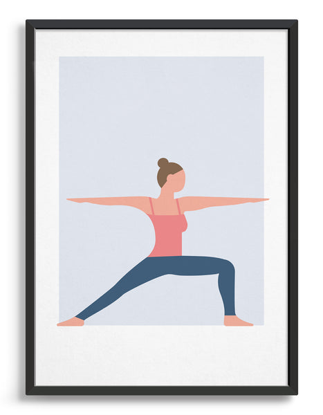 framed art print of a woman in warrior 2 yoga position against a blue background