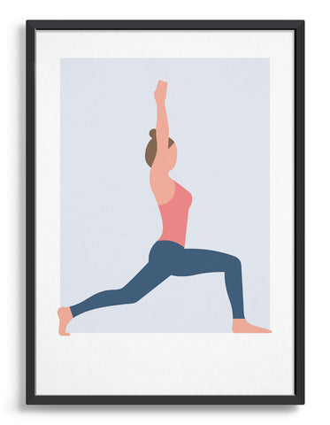framed Illustration of a woman in warrior 1 pose yoga position against a blue background