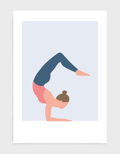 cobra pose art print featuring a woman in a pink vest and blue leggings against a pale blue background