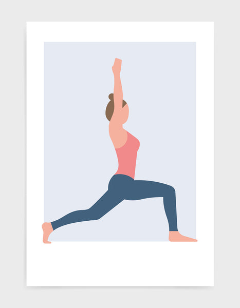 yoga pose art print of a woman in pink vest and blue leggings in warrior 1 pose against a pale blue background