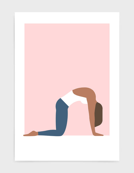 yoga pose print of a woman in a white vest and blue leggings doing the cat cow pose against a pink background