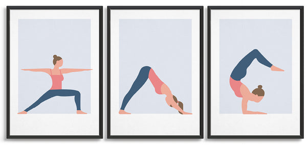 set of three yoga prints in a row. All feature a woman in a white vest and blue leggings in a variety of poses. Left to right is warrior I, Downward dog and cobra pose all on a light blue background