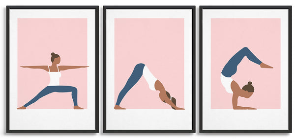 set of three yoga prints in a row. All feature a woman in a white vest and blue leggings in a variety of poses. Left to right is warrior I, Downward dog and cobra pose
