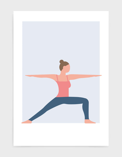 warrior I yoga pose art print featuring a woman in pink vest and blue leggings against a pale blue background