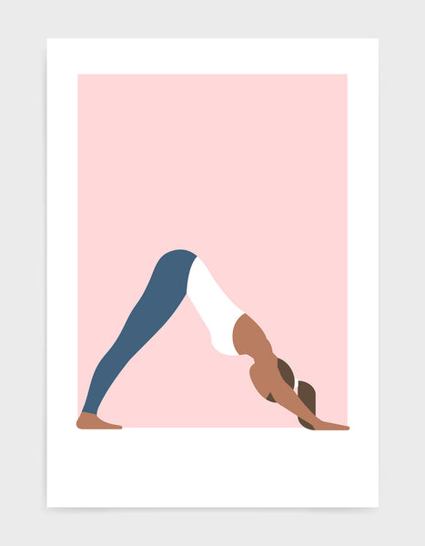 yoga pose art print featuring a woman in a white vest and blue leggings in a downward dog pose against a pink bakground