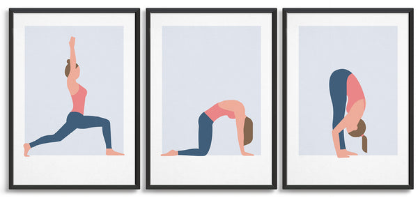 a set of three yoga prints showing a series of yoga poses from left warrior 1, then cat cow pose and forward fold