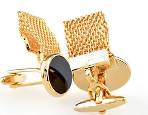 Gold Pearl Oval Cufflinks