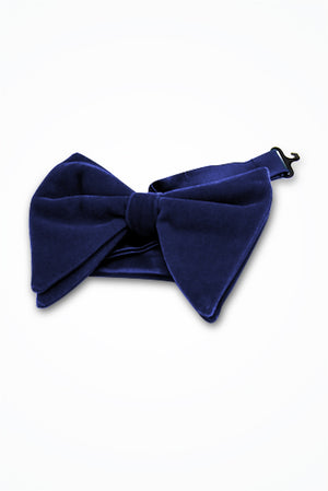 Navy Blue Velvet Butterfly Bow Tie