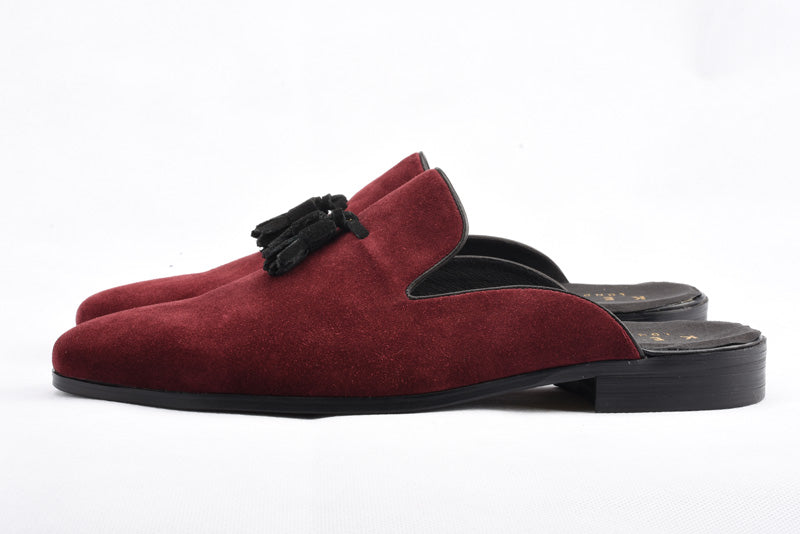 Handmade Real Suede Loafers In Burgundy