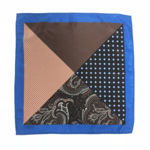 Keye London Pocket Square Paisley Brown & Blue Open