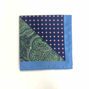Keye London Pocket Square Paisley Green & Blue folded