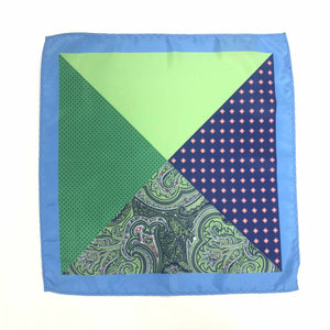 Keye London Pocket Square Paisley Green & Blue Open