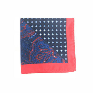 Keye London Pocket Square Paisley Navy & Red Folded