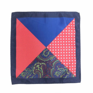 Keye London Pocket Square Paisley Navy & Red Open
