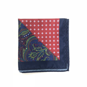 Keye London Pocket Square Paisley Red & Navy Folded