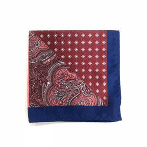 Keye London Pocket Square Paisley Burgundy & Navy Folded
