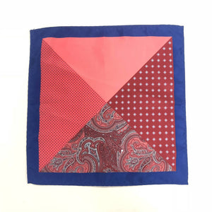 Keye London Pocket Square Paisley Burgundy & Navy Open