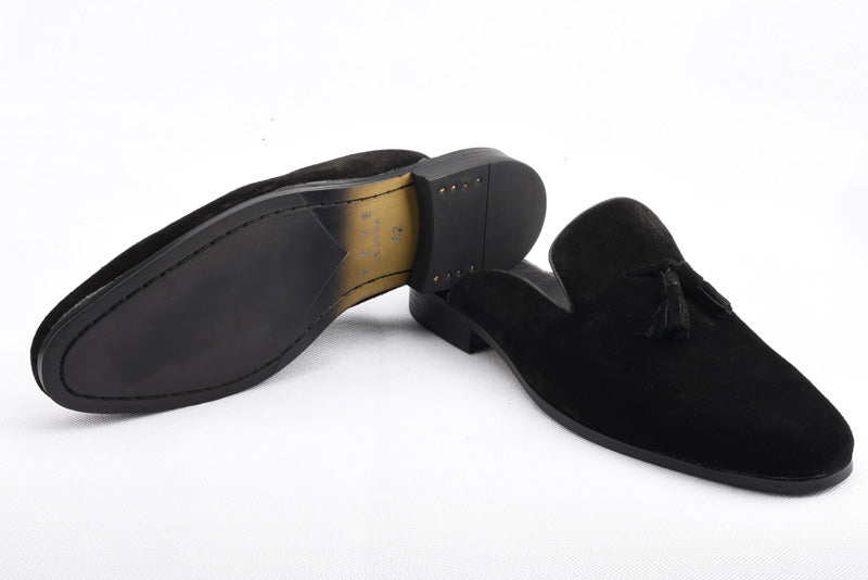 Handmade Real Suede Loafers In Black