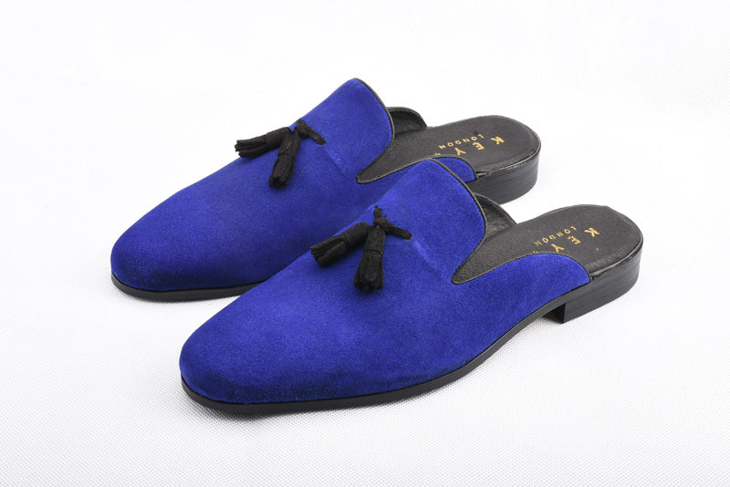 Handmade Real Suede Loafers In Royal Blue