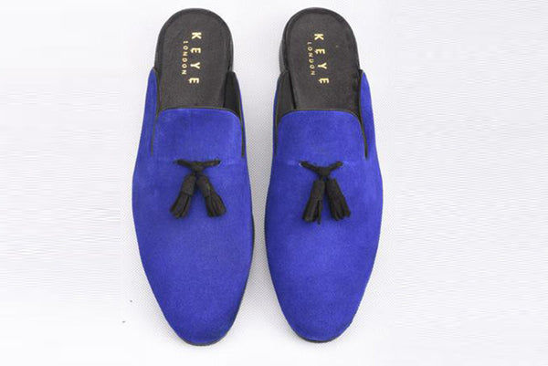 Handmade Suede Mules In Royal Blue