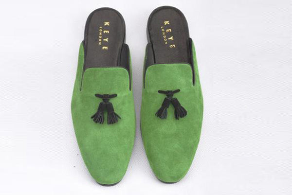 Handmade Real Suede Loafers In Olive Green