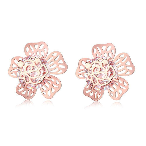 Earrings Rose Gold Plated Floral Galore Studded