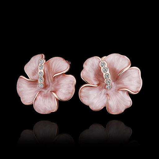 Earrings Swarovski Crystal 18K Rose Gold Plated Flower Stud