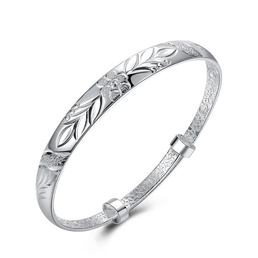 Bangle 18K White Gold Plated Floral Diamond Laser Cut
