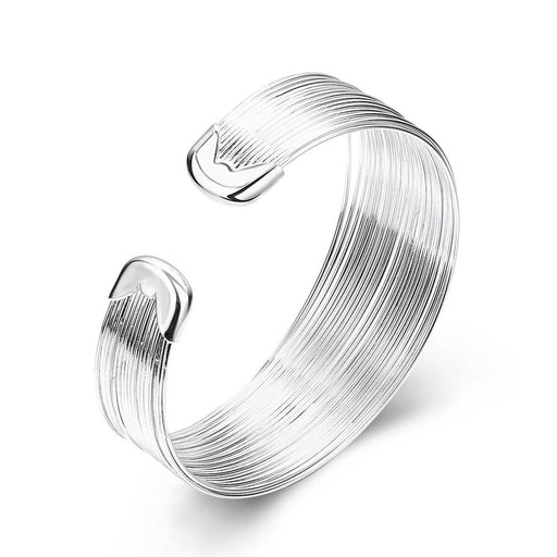 Bangle 18K White Gold Plated Stacked Line