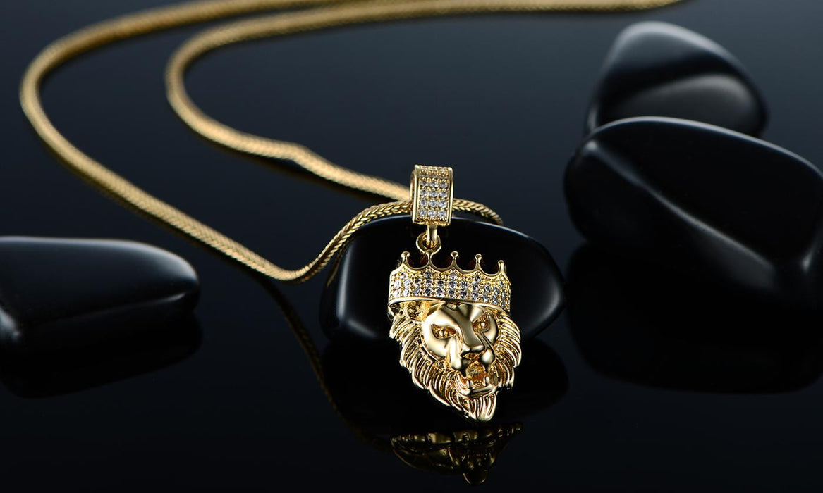 Necklace 18K Gold-Plated Lion Head Pendant with Chain