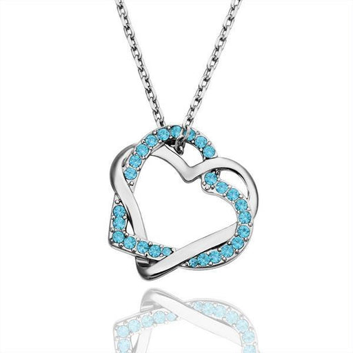 Necklace White Gold Plated Sapphire Crystal