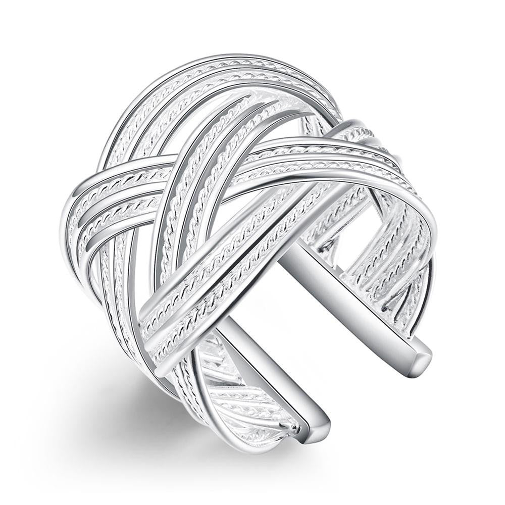 Ring White Gold Plated Adjustable Weved