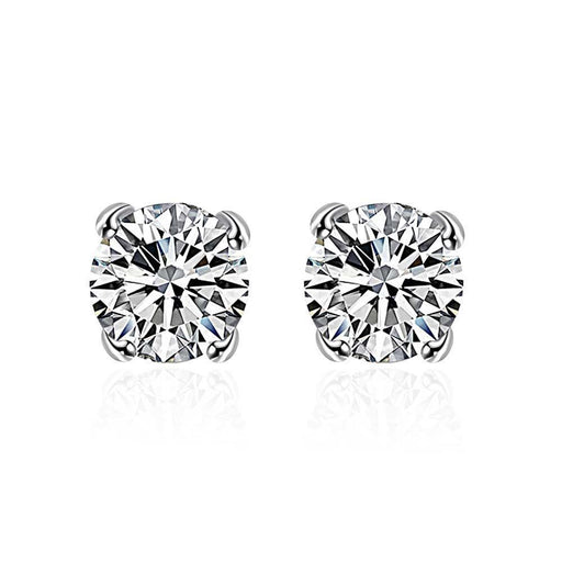 Earrings White Gold Plated Swarovski Crystal Stud Diamond Cut