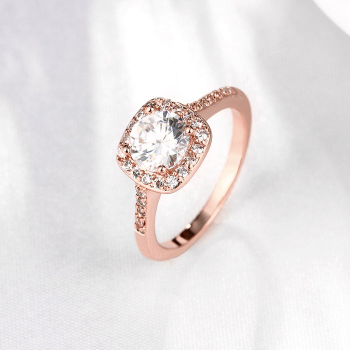 Ring Swarovski Crystal Halo in 18K Yellow, Rose or White Gold Plated
