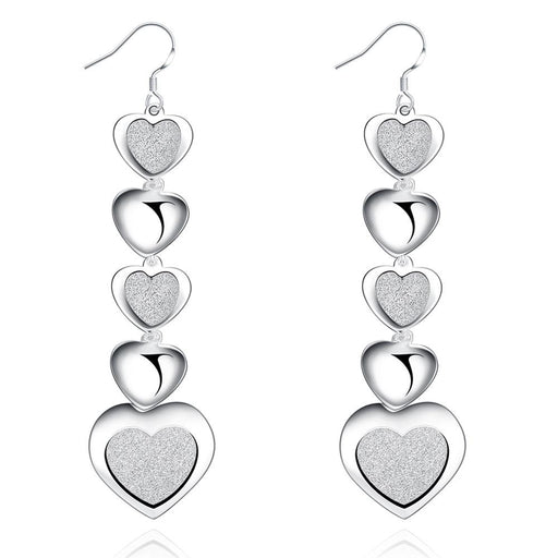 Earrings White Gold Plated Infinity Hearts Drop