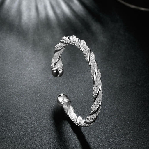 Bangle 18K White Gold Plated Mesh Twist