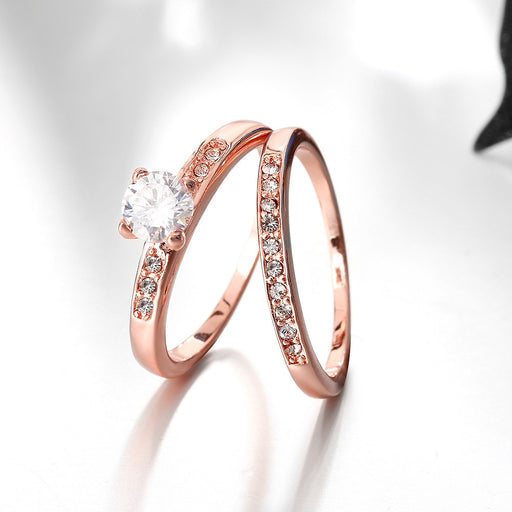 Ring Set Swarovski Crystal 2 Piece Band and Ring Set in 18K White or Rose Gold Plated