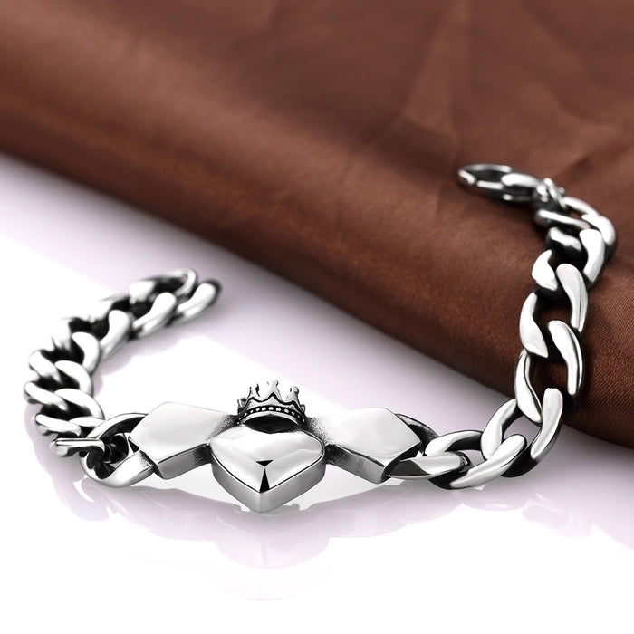 Mens Bracelet Stainless Steel Trio-Hearts