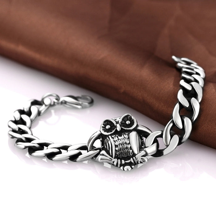 Mens Bracelet Stainless Steel Owl Emblem Piece