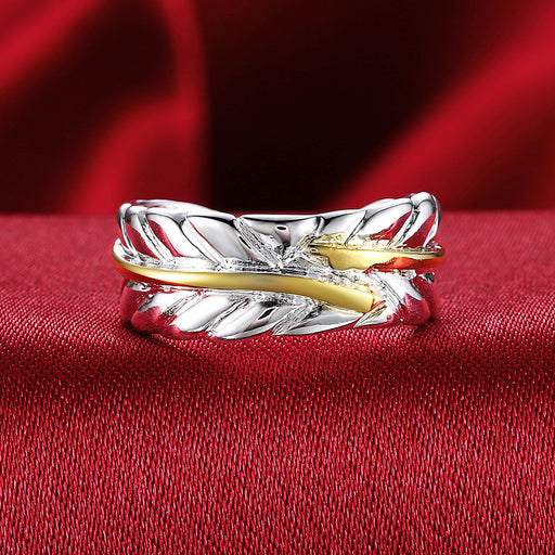 Ring White Gold Plated Leaf Adjustable