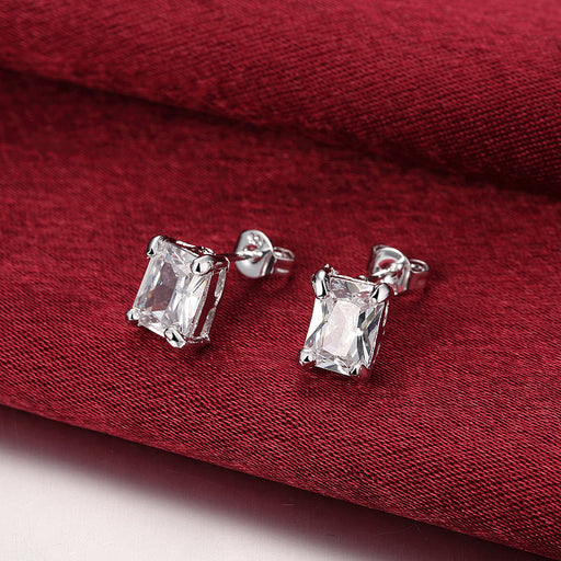 Earrings White Gold Plated Swarovski Crystal Stud Rectangle Diamond Cut